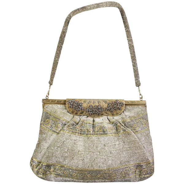 Vintage 1950's Metallic Beaded Handbag Made in France