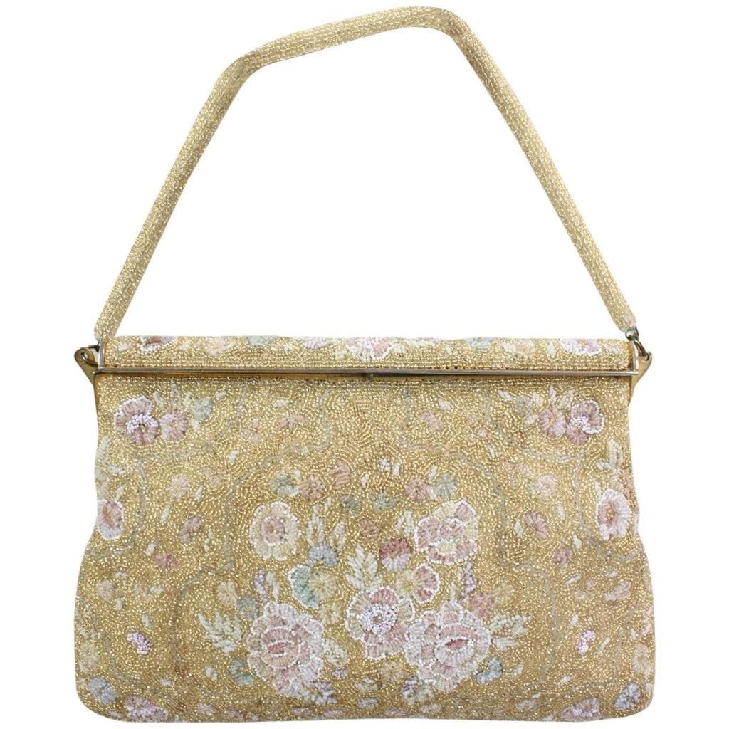 Vintage 1950's Delill Gold Beaded Handbag