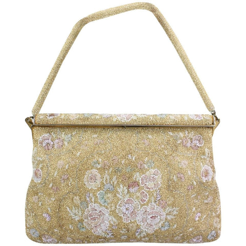 1950's Handbag Delill Gold Beaded Vintage - regenerationvintageclothing