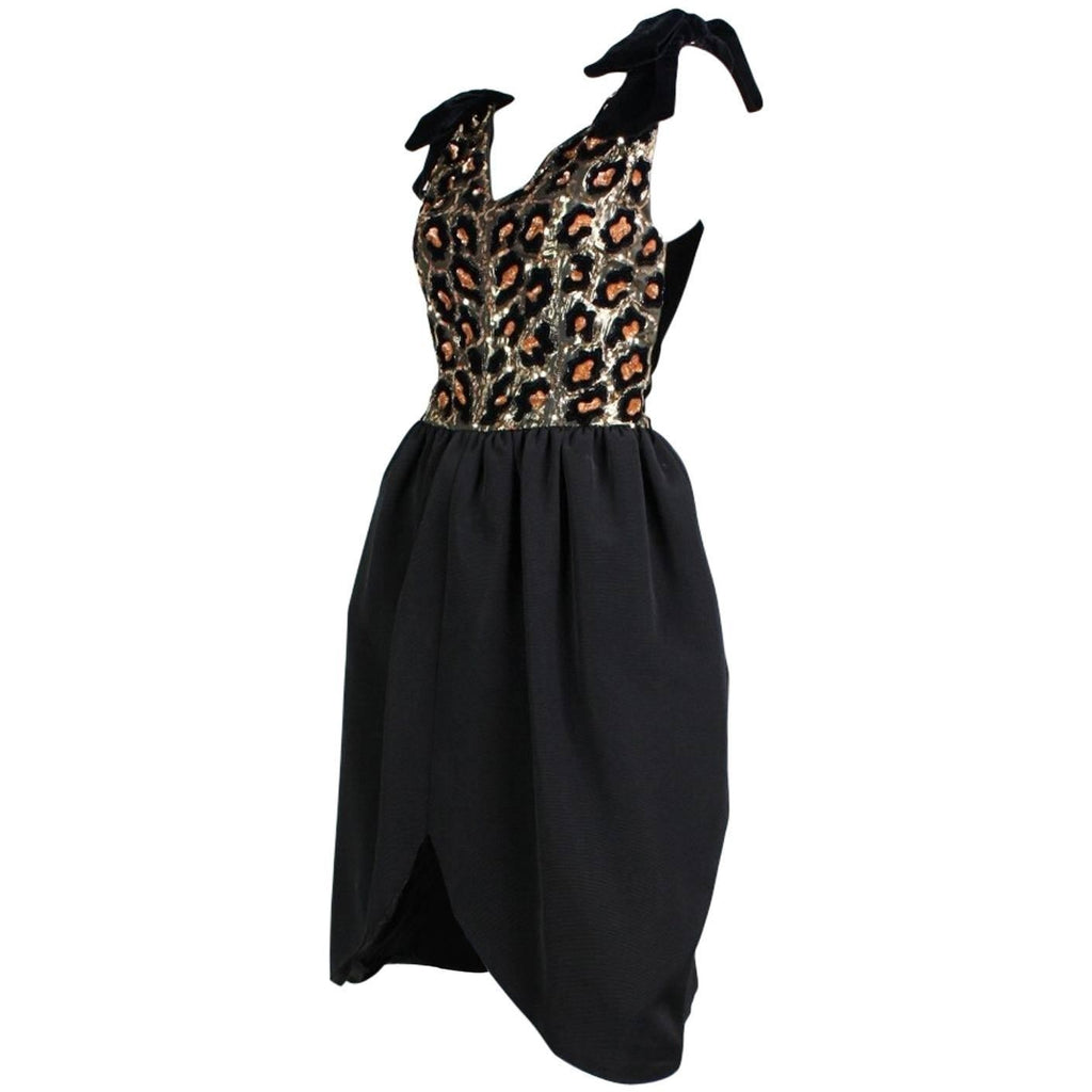 Vintage Dresses - 1980's Christian Dior Leopard Printed Sequined Cocktail Dress