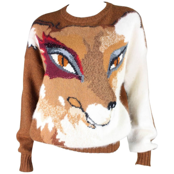 Krizia Sweater 1980's Figural Fox Vintage - regenerationvintageclothing