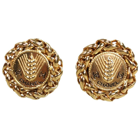 Vintage Jewelry: Chanel Gold-Toned Wheat Earrings