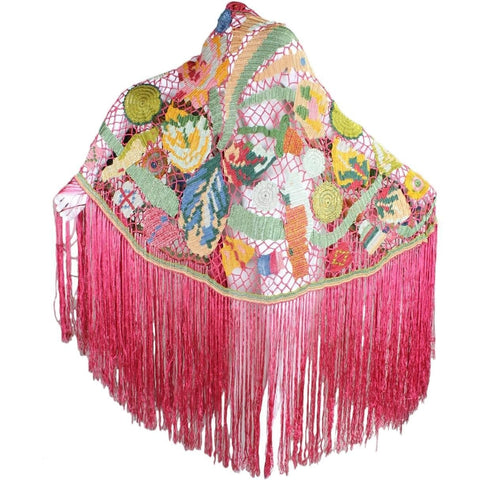 Vintage Clothing: 1920's Polychrome Crocheted & Fringed Rayon Shawl