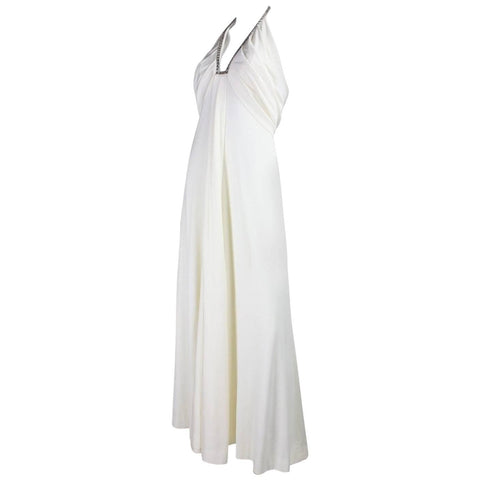 Estevez Gown 1970's White Jersey with Rhinestone Trim Vintage - regenerationvintageclothing