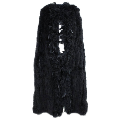 1980's Cape Black Full-Length Marabou Feather Vintage - regenerationvintageclothing