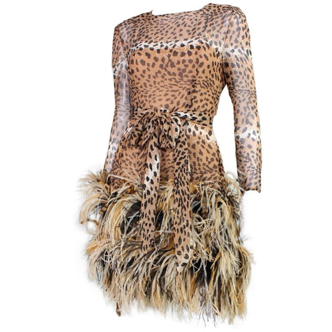 Vintage Dresses - Vintage 1990 Bill Blass Chiffon Cocktail Dress with Animal Print & Feather Trim