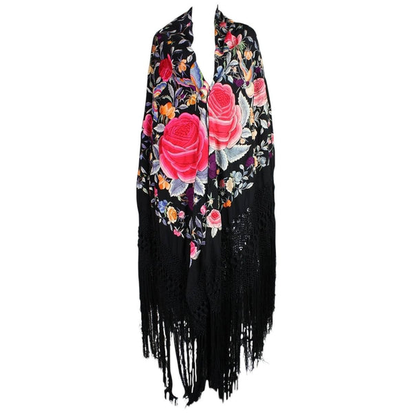 Vintage Clothing: 1920's Black Piano Shawl with Multicolored Embroidery