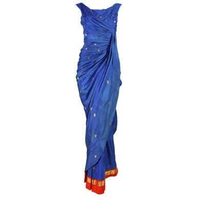 Vintage Clothing: 1950's Royal Blue Silk Sari Evening Gown