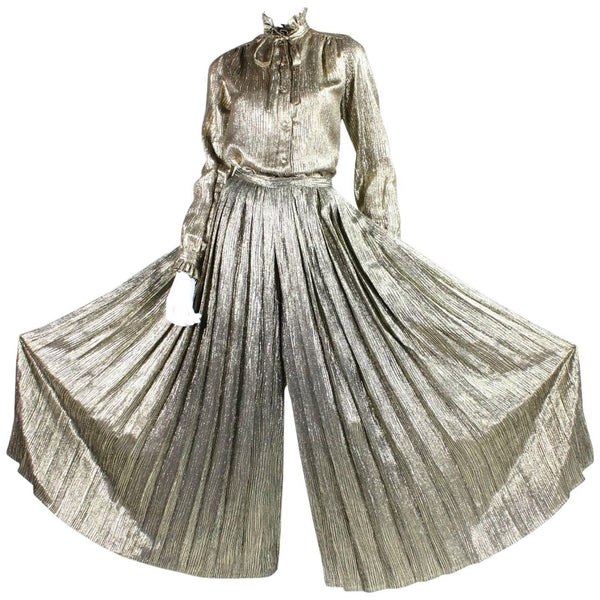 Vintage Clothing: 1970's Adolfo Gold Palazzo Pants Ensemble