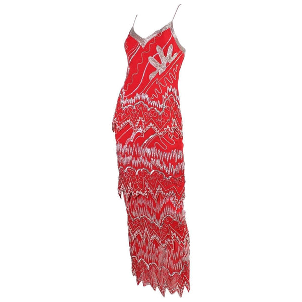 Vintage Dresses - 1980's Fabrice Red Sequined & Beaded Ensemble