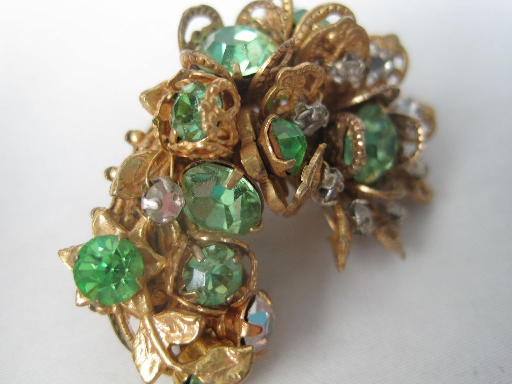 1960's Earrings DeMario Rhinestone Filigree Vintage - regenerationvintageclothing