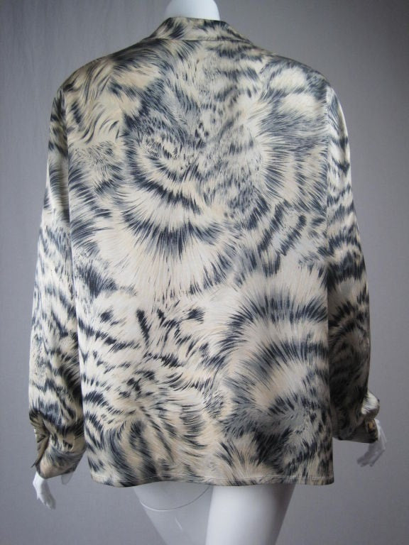 Escada Blouse 1980's Silk With Fur Print Vintage - regenerationvintageclothing