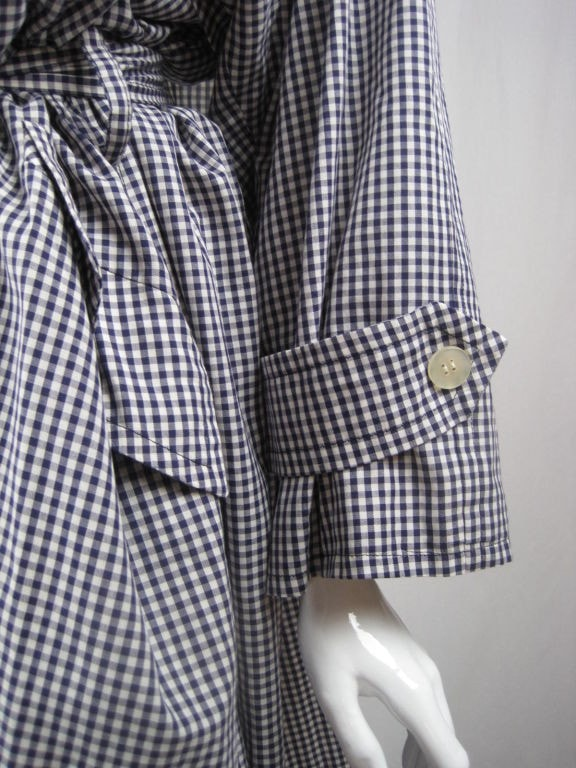 Vintage 1980's Mila Schon Cotton Gingham Overcoat