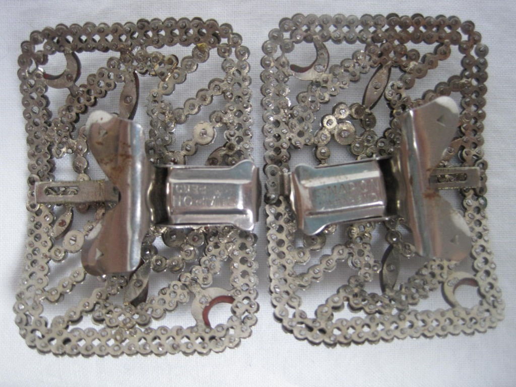 Shoe Clips Pair of French Cut Steel Vintage - regenerationvintageclothing