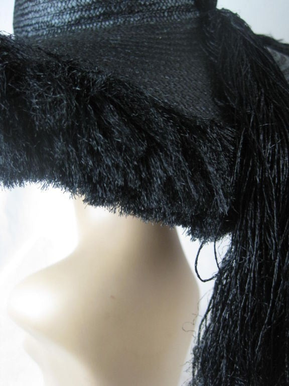 1940's Hat Oversized Black Straw with Eyelash Fringe Vintage - regenerationvintageclothing