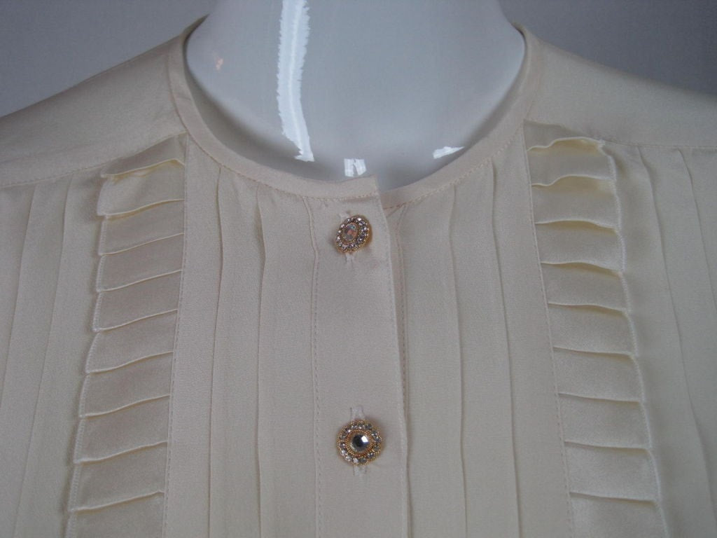 Escada Blouse 1980's Pleated Silk Vintage - regenerationvintageclothing