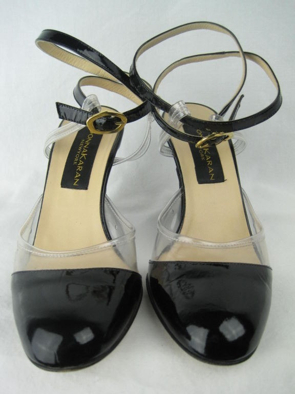 Donna Karan Heels 1990's Patent Leather And Vinyl Vintage - regenerationvintageclothing