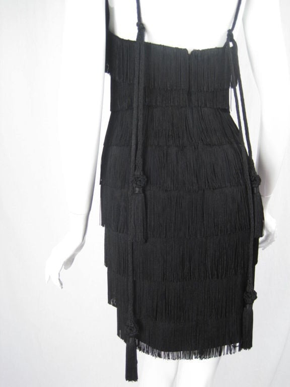 Moschino Couture Dress 1990's Black Fringe Vintage - regenerationvintageclothing