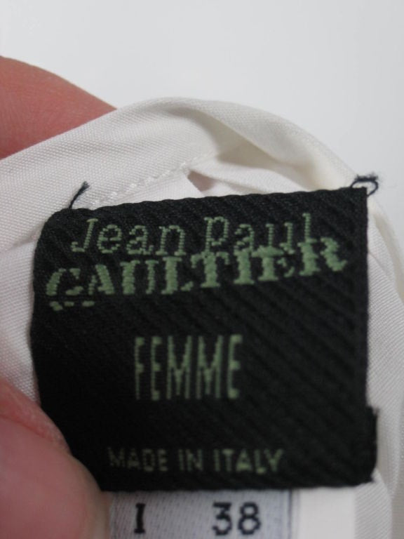 Jean-Paul Gaultier Blouse 1990's Asymmetrical Cotton Poplin Vintage - regenerationvintageclothing