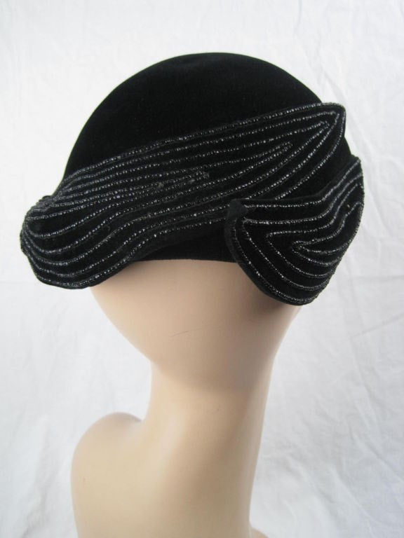 Vintage 1940's French Beaded Toque