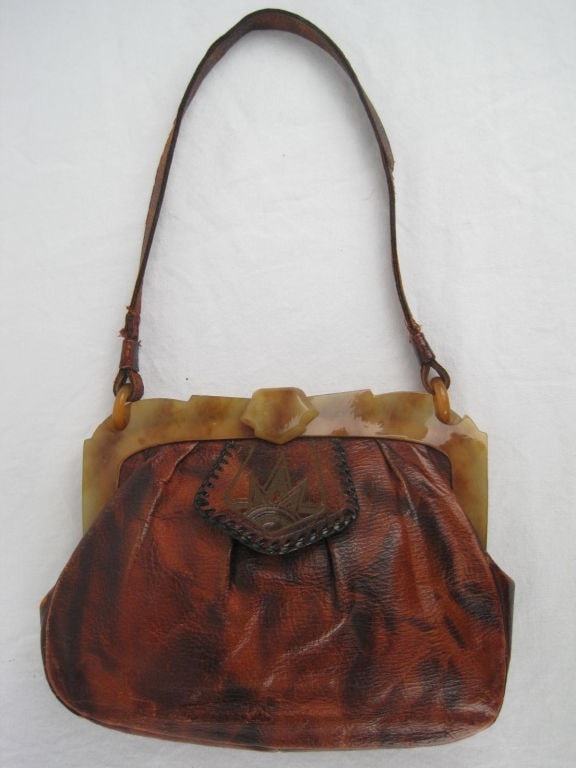 Arts & Crafts Handbag Tooled Leather Handbag Vintage - regenerationvintageclothing