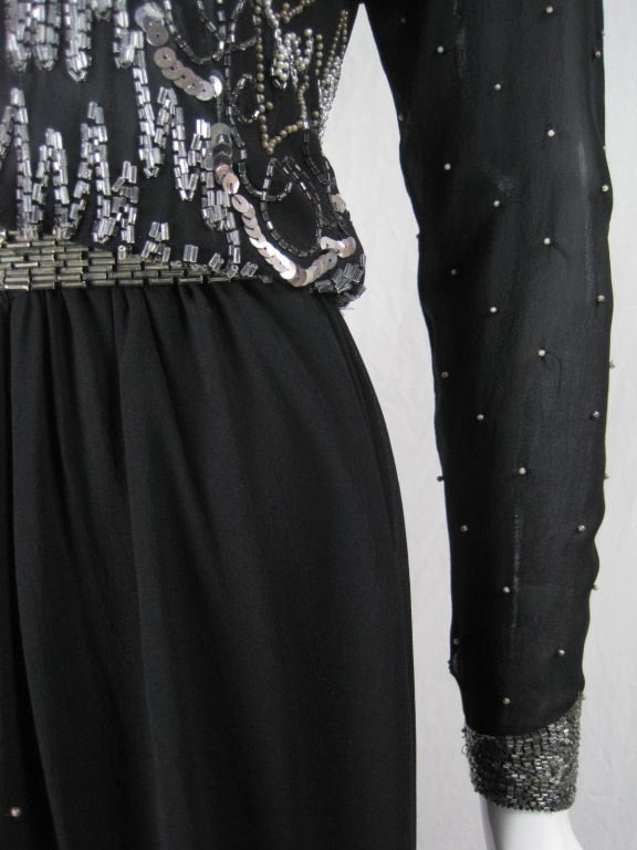Fabrice Gown 1980's Black Chiffon With Silver Beading Vintage - regenerationvintageclothing