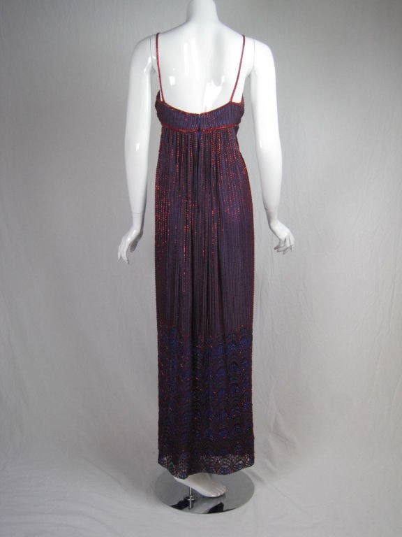 Alfred Bosand Gown 1970's Beaded Lace Vintage - regenerationvintageclothing