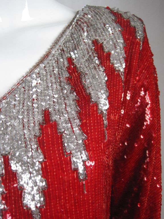 1980's Blouse Bright Red Sequined Vintage - regenerationvintageclothing