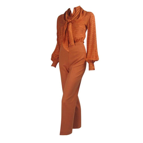Valentino Ensemble 1970's Sherbert Orange Three-Piece Vintage - regenerationvintageclothing