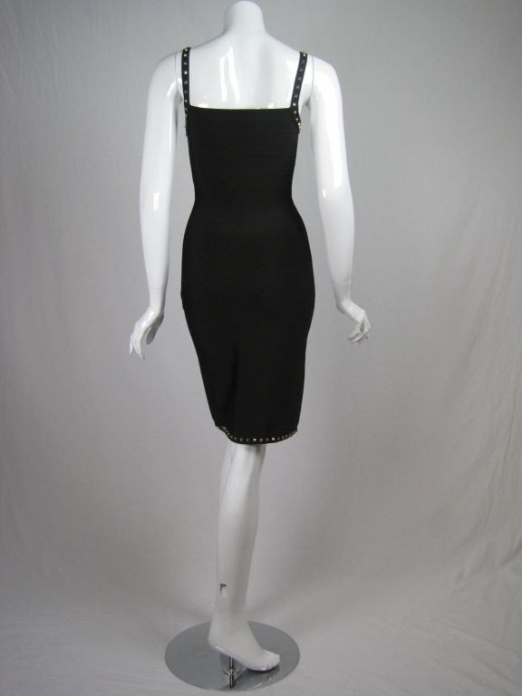 Herve Leger Dress 1990's Chocolate Brown Studded Bandage Vintage - regenerationvintageclothing