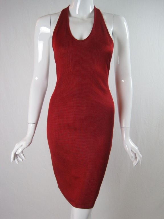 Alaïa Halter Dress Tomato Red Vintage - regenerationvintageclothing