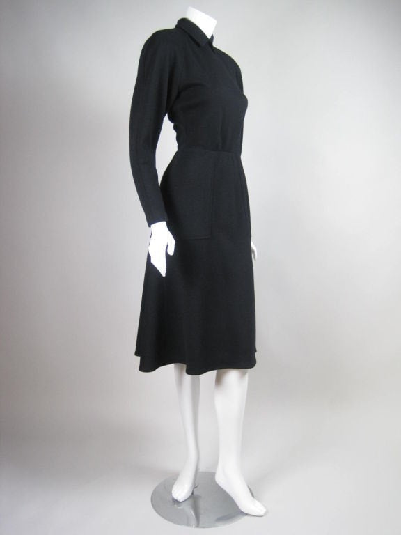 Vintage 1990's Bernard Perris Black Wool Dress