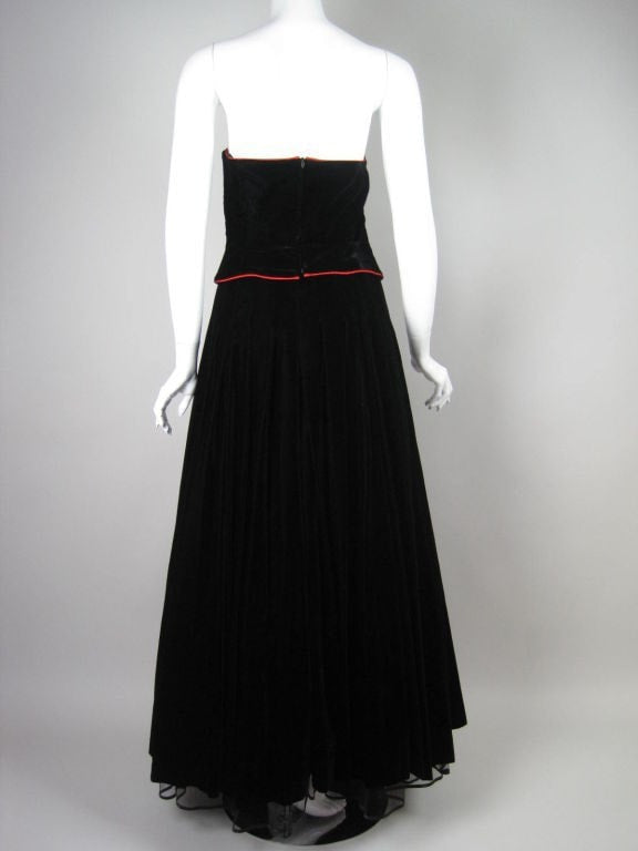 Vintage 1980's Escada Velvet Ball Gown with Matching Bolero