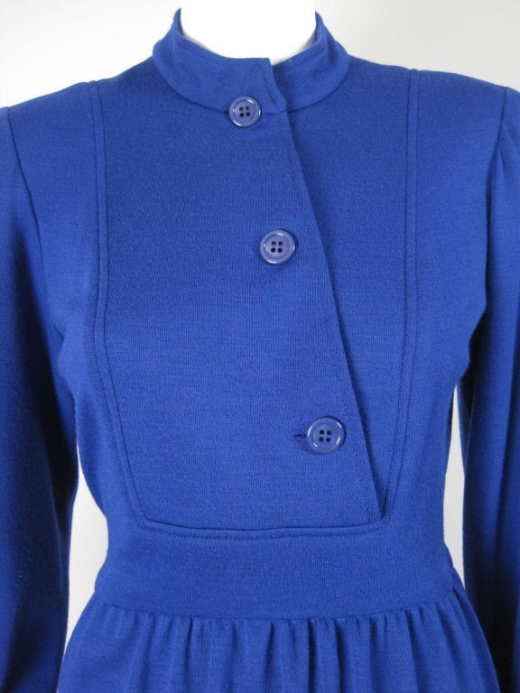 1980's Dress Albert Nipon Royal Blue Knit Vintage - regenerationvintageclothing
