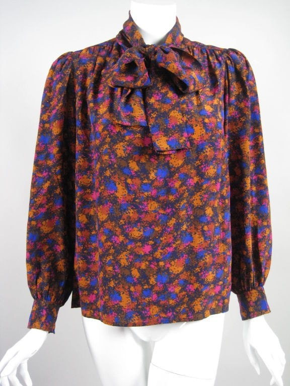 Yves Saint-Laurent Blouse 1970's Silk Vintage - regenerationvintageclothing