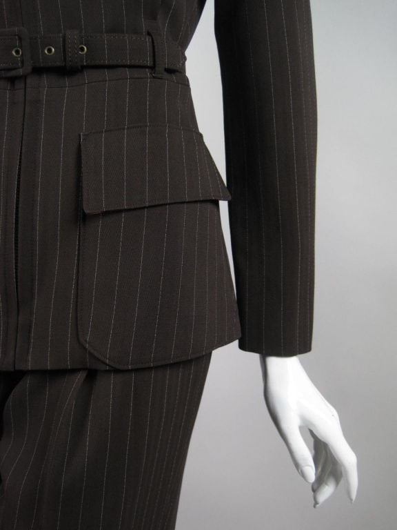 Jean-Paul Gaultier Trouser Suit 1990's Pinstriped with Structured Silhouette Vintage - regenerationvintageclothing
