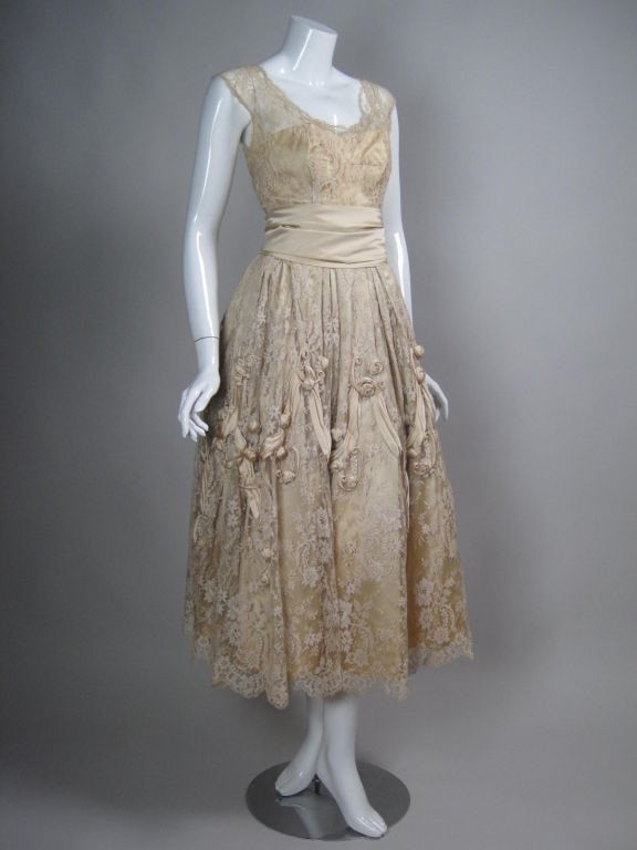 Vintage 1950's Harvey Berin Chantilly Lace Cocktail Dress