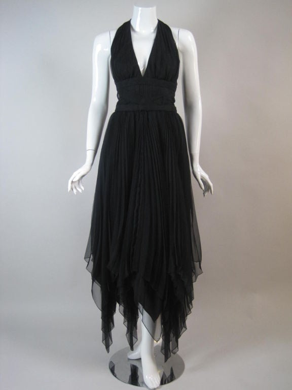 Travilla Dress Pleated Chiffon Halter Vintage - regenerationvintageclothing