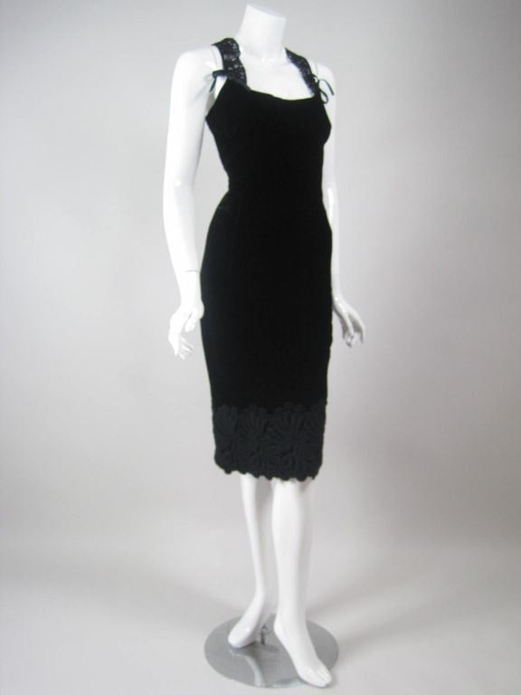 Vintage Dresses - Vintage 1990's Dolce & Gabbana Black Velvet Evening Ensemble