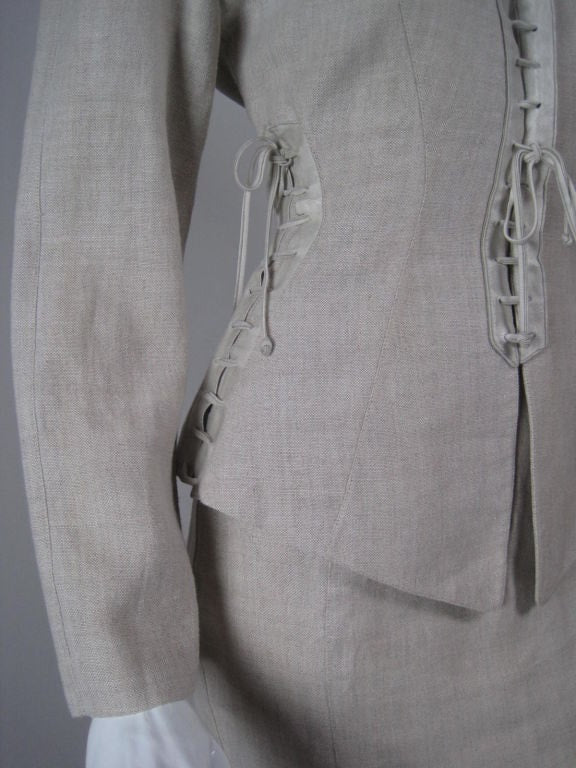 Thierry Mugler Skirt Suit Linen with Lacing Vintage - regenerationvintageclothing