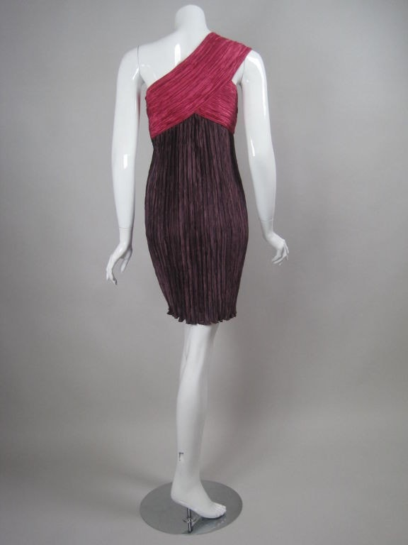 Mary McFadden Couture Dress 1990's One-Shouldered Pleated Vintage - regenerationvintageclothing