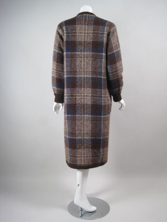 Vintage 1970's Missoni Plaid Sweater Coat