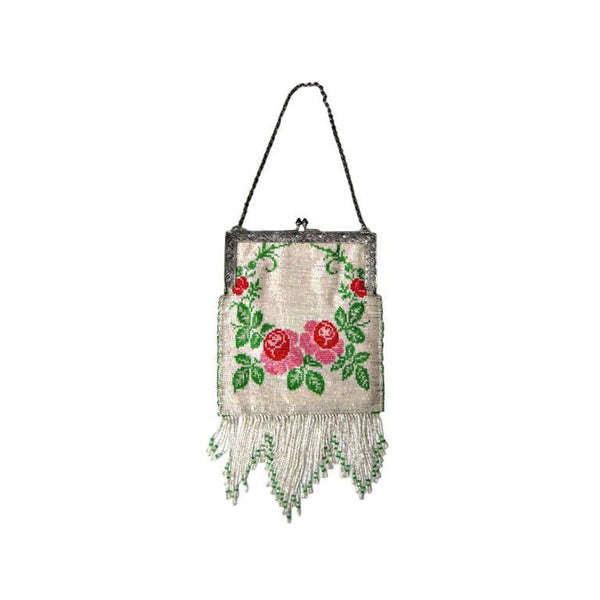 Vintage 1920's Beaded Handbag with Fringe