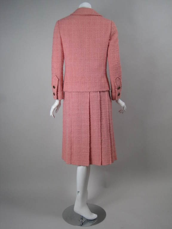 Vintage 1960's Chanel Couture Numbered Pink Wool Boucle Skirt Suit
