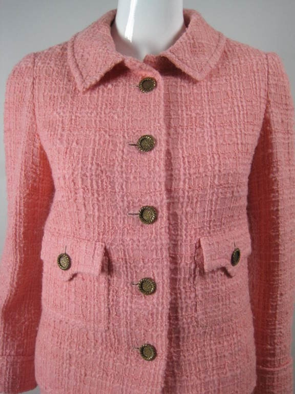 Chanel Skirt Suit 1960's Couture Numbered Pink Wool Bouclé Vintage - regenerationvintageclothing
