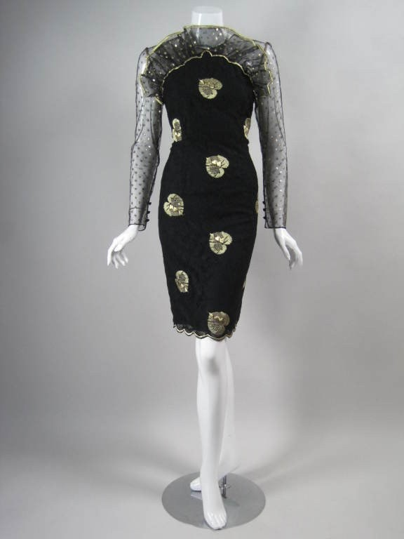 Vintage Dresses - Vintage 1980's Bill Blass Lace And Net Cocktail Dress