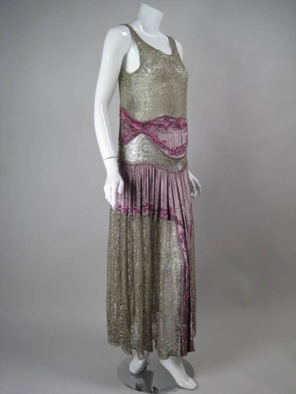 1920's Dress Gold Metallic Lace with Beading Vintage - regenerationvintageclothing