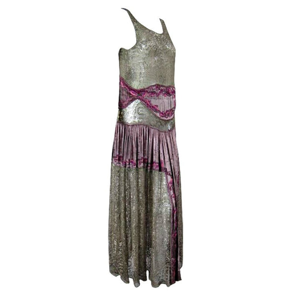 Vintage Dresses - 1920's Gold Metallic Lace Dress with Beading