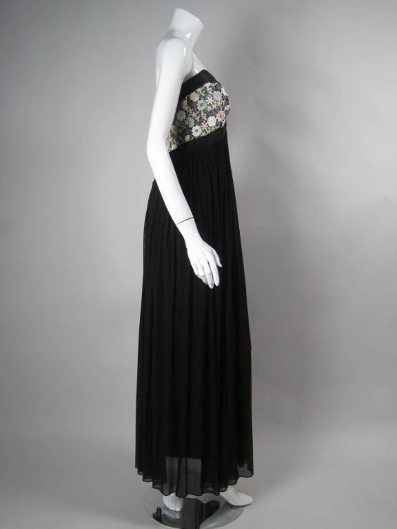 Vintage 1990's Vicky Tiel Couture Strapless Goddess Gown
