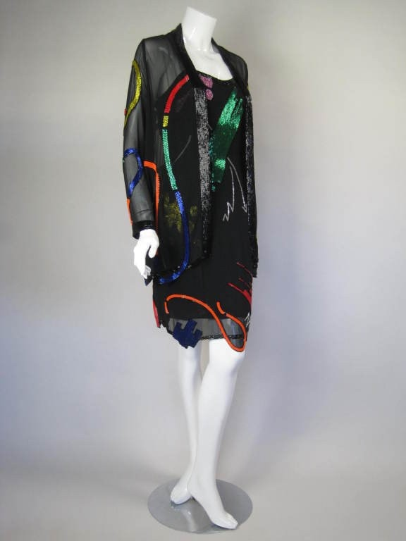 Fabrice Dress & Jacket 1980's Beaded Silk Vintage - regenerationvintageclothing